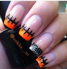Spooky Halloween Nail Art Designs - For Creative Juice : Simple Halloween Tipped Nail Design. Holiday Nail Designs, Fall Nail Art Designs, Holiday Nail Art, Halloween Nail Designs, Nail Tip Designs, Holloween Nails, Cute Halloween Nails, Ongles Halloween Simple, Get Nails