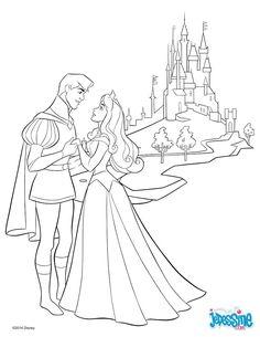 Voici un beau coloriage de Aurore, la princesse Disney de la Belle au Bois Dormant avec son beau prince devant le château. Un joli coloriage pour toutes les jeunes filles fans des princesses Disney.