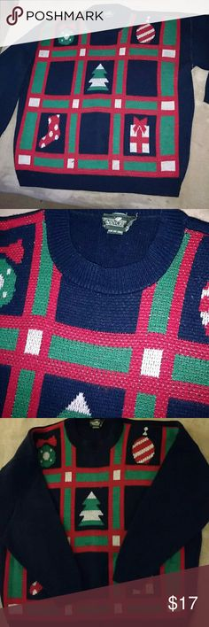 Ugly Christmas Bill Cosby Xmas sweater sz XL Ugly on two levels not only is this Cabin Creek Christmas pattern sweater great for an ugly Christmas party contest. Also looks like a sweater Bill Cosby would wear. Double the ugly features dark navy blue background with squares on the front that have stockings, ornaments, trees red green and white. 100% acrylic size XL. Unisex , some minor pilling. 26 inches armpit to armpit, 25 inches shoulder to bottom hem, 19 inches armpit to cuff Cabin Creek…