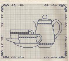 3 Quadrinhos Chá da Tarde em Ponto Cruz : Scraps Gospel ® Cross Stitch Borders, Cross Stitching, Cross Stitch Embroidery, Cross Stitch Patterns, Crochet Patterns, Filet Crochet Charts, Cross Stitch Kitchen, Crochet Circles, Hand Embroidery Designs