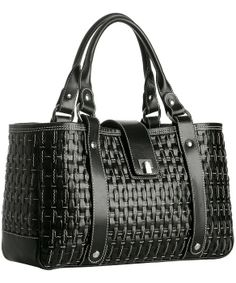 "Lambertson Truex Black Basketwoven Leather 'Tenny' Tote Retail: $1,595.00 Reduced: $797.99   +rectangular +structured +size! +silvertone hardware +6 1/2"" handle drop 17¼'' at widest x 9½'' tall at center x 5'' deep, weighs 2½ lbs."