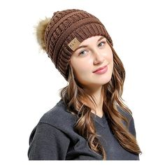 cfcc33eb Winter Hat Women Men Cap 2017 Warm Faux Hair Pom Poms Ball Bobble Hat Lined  Crochet Knitted Ski Cap Women' Hats Skullies Beanies