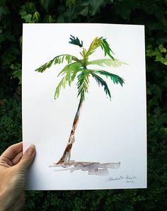 Aquarel van een palmboom  Een mooie giclee print van dit werk: https://www.etsy.com/nl/listing/183882384/palmboom-aquarel-schilderij-reproductie?ref=shop_home_active_3  Afmeting: Circa 23 x 30,5 cm/ 9 x 12  Aqaurel op 225 grms wit glad papier   Het werk heeft een stof en vuil werende beschermlaag. De kwaliteit van de verf is zeer goed. Wil je het werk maximaal beschermen dan kun je het werk het beste achter glas doen en blootstelling aan direct zonlicht...