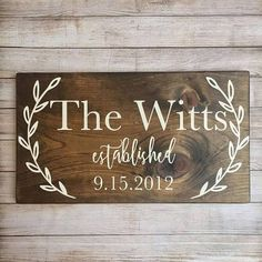 wooden family established signs