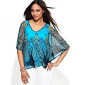 INC International Concepts Top, Batwing-Sleeve Paisley-Print