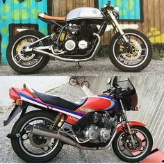 by @dbertell  Before & After.  #beforeandafter #before&after #instamoto #builtnotbought #stocksucks #ride #bike #motorcycle #custom #caferacer #kustom #kulture #bratstyle #scrambler #yamaha #xj900