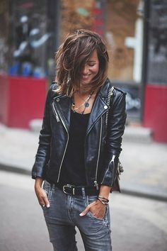 Street style | Amazing rocker outfit and hair