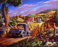 Oil Painting: Farm Folk Art Thanksgiving Pumpkins Rural Country Autumn Americana Landscape Oil Painting American Curlee. $7,000.00, via Etsy.