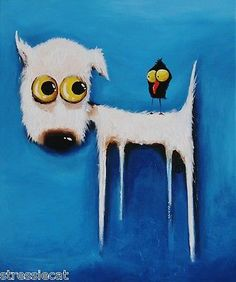 Original Fine Art Acrylic Painting Lucia Stewart Whimsical Dog Crow Blue Large | eBay