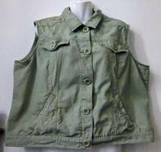 #CATO Women PLUS Size 18 20W Sleeveless Women's #Blazer Solid Green Pockets Cotton #Cato #Blazer #Casual #catofashions  #vests #blazers #womenswear #plussize #plussizewomen #style