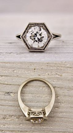 This geometric Roman inspired ring carries a cool 1.75 carat stone.