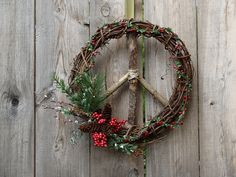 Peace Sign Christmas/Winter Wreath/ Natural by ArtfullyYours1973