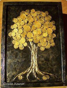 Картина панно рисунок День рождения Аппликация Сад из Денежных деревьев Металл Салфетки фото 3