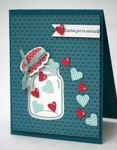 Designed by maryross: Popurri de San Valentín Cool Cards, Diy Cards, Mason Jar Cards, Mason Jars, Valentine Love Cards, Stamping Up Cards, Creative Cards, Anniversary Cards, Greeting Cards Handmade