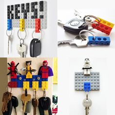 Each week DaddiLifeForce brings you inspiration curated from the community, to turn average time into quality dad moments quickly and easily. This week we're celebrating the power of lego. Lego has brought some… Legos, Lego Key Holders, Deco Lego, Lego Room Decor, Lego Hacks, Lego Decorations, Lego Craft, Deco Originale, Boys Bedroom Decor