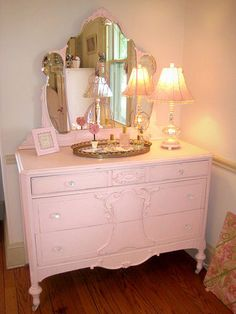 Pink Shabby Chic Dresser with Tiara Mirror. This is the perfect style and color for one of our spare bedrooms.