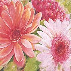Amazon.com: Entertaining with Caspari Nel's Daisies Paper Luncheon Napkins (20 Pack), Pink: Kitchen & Dining