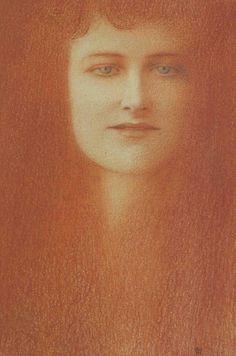 Fernand Khnopff. Etude de femme, 1891.  Je me souviens avec acuité du regard de cette femme qui m'avait hypnotisée, lors de la rétrospective Khnopff à Bruxelles en 2003