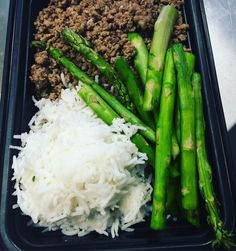 Downtown Campbell: My favorite meal right now. Certified Angus Ground Beef Chuck-Basmati Rice-Grilled Asparagus  can't go wrong with this. Lunch time. #mealprep #leanfeast #food #clean #cleaneating #portioncontrol #1mealprepcompanyinthebayarea #local #pickup #delivery #loseweight #weightloss #flavor #salecomingsoon #summercoming by lean_feast