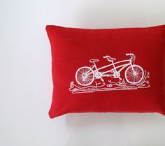Pillow Cover Cushion Cover White Tandem Bicycle on Red Linen 12 x 16 inches