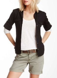 James Perse Contrast Side Panel Shirt
