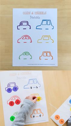 Use this free cars and wheels printable as a fun learning activity for kids to learn colors, letters and numbers. - Kids education and learning acts Educational Activities For Toddlers, Printable Activities For Kids, Montessori Activities, Alphabet Activities, Color Activities, Activities For Preschoolers, Number Activities, Learning Colors, Fun Learning