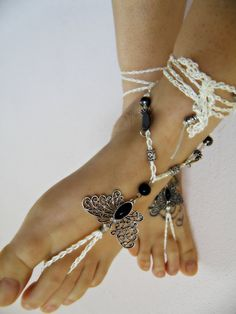 Butterfly BAREFOOT sandles barefoot sandal hippie barefoot BOHO beaded SUMMER sexy anklet jewelry foot thongs bottomless shoes