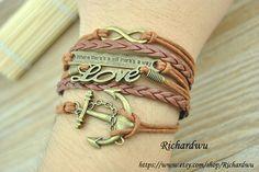 Anchor Love Infinity Moto Bracelet  Brown wax cord by Richardwu, $6.99