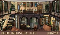 NO CC. Sims 4 speed build an. - NO CC. Sims 4 speed build an. Loft Industrial, Industrial Windows, Vintage Industrial Decor, Industrial Bedroom, Industrial Farmhouse, Industrial Interiors, Industrial Lighting, Industrial Restaurant, Industrial Bookshelf