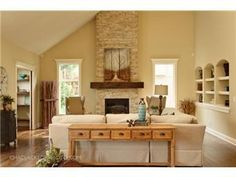 love the fireplace stone and wood mantle