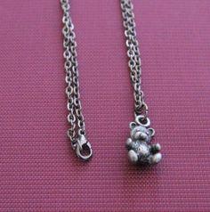 "Metal Silver-tone Teddy Bear Pendant w/ 18.5"" Gunmetal Finish Chain Link Necklace"