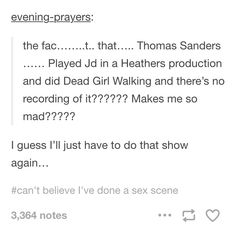 Thomas sanders was in Heathers…? SOMEONE must have a recording?!?!?