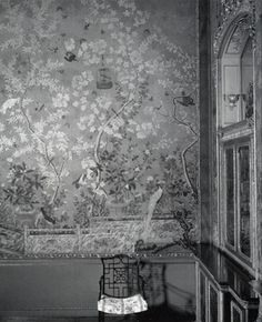 Old photograph of Chinese wallpaper, c. 1800, at Temple Newsam, Leeds, via Emery et cie