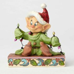 """Jim Shore Disney Traditions by Enesco Dopey With """"Christmas"""" Lights Figurine - Relaxbuddy Online Shopping Tabletop Christmas Tree, Christmas Pjs, Christmas Figurines, Disney Christmas, Christmas Lights, Disney Holidays, Holiday Lights, Xmas Ornaments, Holiday Decor"""