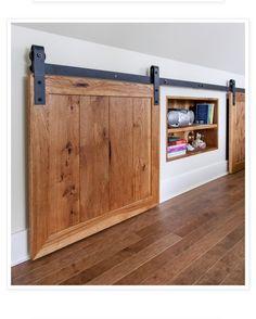 Under alcove storage with barn sliders