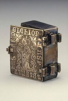 aleyma:  Silver box in the shape of a book, made in Northern Europe in the mid 14th century (source).