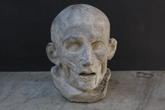 A plaster cast of the head of Houdon celebrated flayed or ecorche figure