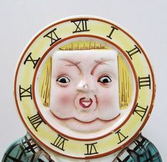 Anthropomorphic Ceramic CLOCK FACE by TextilesandOldThings on Etsy, $22.00