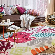 Tara Rugs by Esprit features a contemporary floral design in vibrant colours will bring style and comfort into your home. #ColourfulRugs #ModernHome
