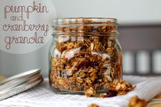 Pumpkin-spiced granola with almonds. Perfect autumn breakfast.