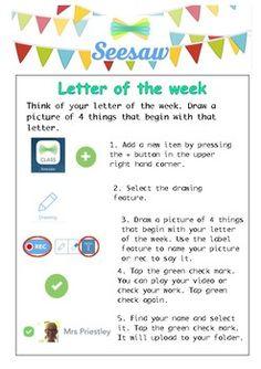 Seesaw Letter of the Week Task Card Flipped Classroom, Classroom Fun, Google Classroom, Seesaw App, Kindergarten Goals, Teaching Technology, Preschool Curriculum, Home Learning, Apps