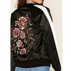 Flower embroidered bomber jacket color block for women