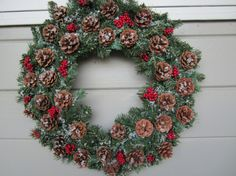 Winter Wreath Pine Cone Wreath Christmas Wreath by ritzywreaths, $50.00