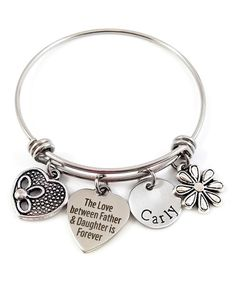 Stainless Steel 'Father and Daughter' Personalized Bangle #zulily #zulilyfinds