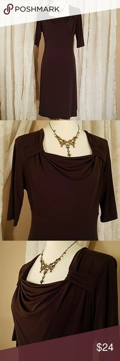 Merona  coffee brown knit dress Classic coffee brown dress with built in spanx underskirt. Beautiful neckline with fitted bodice and slightly flared skirt. Barely worn, excellent condition. Merona Dresses