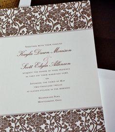 Brown Damask Wedding Invitation