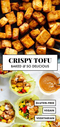 Learn how to make super CRISPY tofu (without deep frying! It's so easy to make in your oven with these tips! Here is how to make super crispy tofu in the oven. Recipe yields 4 servings of tofu, as a complement to a larger meal. Firm Tofu Recipes, Vegetarian Recipes, Healthy Recipes, Vegan Meals, Tofu Recipes Baked, Vegetarian Dinners, Clean Eating Snacks, Healthy Eating, Healthy Food