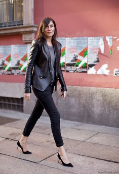 Emmanuelle Alt... love her look, especially the leather blazer