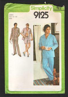 Mens Long or Short Pajamas Pattern Pajama Top Pants and Shorts Pattern 1970s  Sewing Pattern Simplicity 9125 Chest 42 44 a82b20302