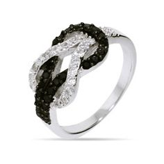 Black and White CZ Infinity Knot Ring | Eve's Addiction